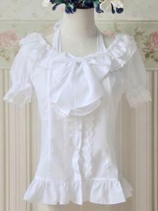 Белые кружева Up Луки оборками хлопок Лолита блузка для женщин