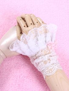 Fiocchi bianchi Chic Lolita sintetico guanti in pizzo