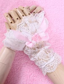 أقواس بيضاء الزهور الدانتيل الاصطناعية قفازات لوليتا