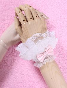 أقواس بيضاء الرباط الاصطناعية قفازات لوليتا