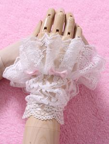 Fiocchi bianchi guanti di pizzo sintetico Lolita