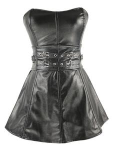 Negro encaje tachas Vintage corsé de cuero para mujeres