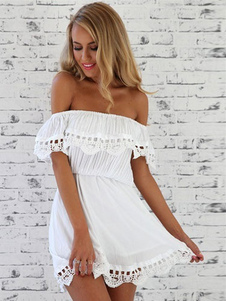 Branco off-o-ombro Ruffled algodão mini vestido para as mulheres