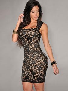 Sexy Club Dress 2020 Abito in pizzo nero semi aderente con pizzo