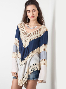 Модная Пуловер длинный рукав с V-декольте богемский стиль для женщин