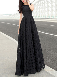 Vestido preto sem mangas cortado em torno do pescoço Vestido Maxi para mulheres
