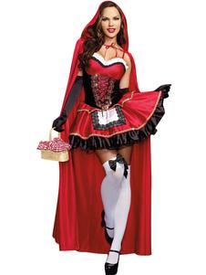Vermelho babados poliéster princesa traje para as mulheres Halloween