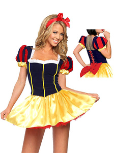 Multi cor do poliéster traje de princesa Sexy para mulheres Halloween