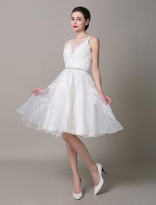 Cinghie abito da sposa color avorio Backless pizzo abito da sposa
