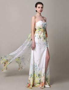 Multicolor Split Strapless seda como vestido de baile de cetim