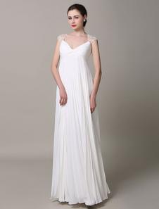 Vestido de noiva marfim rainha Anne casamento vestido Backless do laço pregas Deep-V