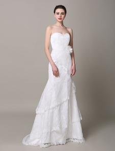 Слоновой кости свадебное платье без бретелек многоуровневой цветы кружева свадебное платье
