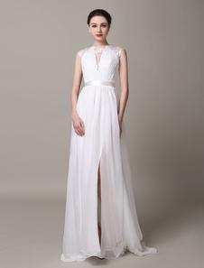Marfil vestido de novia de encaje con escote redondo arrugado sin mangas