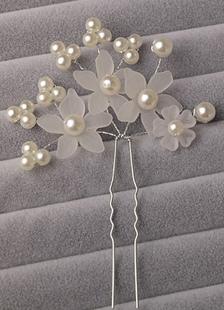 Acessórios de jóias de cabelo branco pérola de casamento