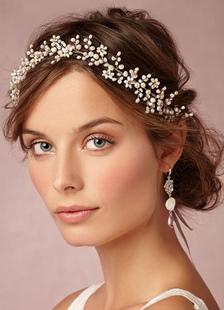 Acessórios de jóias de cabelo de casamento pérola Metal marfim