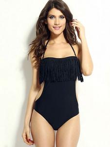 Monokini nero con frange schiena nuda per le donne