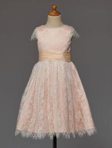 Vestido da menina de flor-de-rosa com arco faixa laço