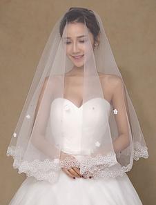 العاج الزهور شبه شير الرباط تول الزفاف الحجاب الزفاف