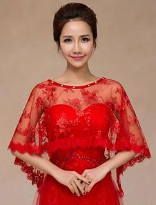 الدانتيل الأحمر شبه شير شال الزفاف للنساء