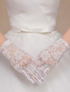 Muñeca elegante de encaje boda nupciales guantes