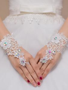 Rendas na moda casamento nupcial luvas de flores de marfim