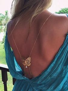 Corrente de ouro corpo metálico com borboleta para mulheres