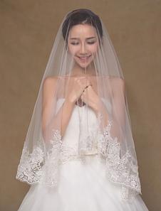 العاج شير الرباط تول الزفاف الحجاب الزفاف