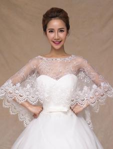 العاج شبه شير الرباط شال الزفاف للنساء
