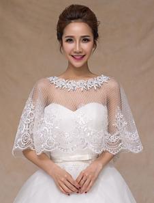 Ivory de encaje elegante boda pura moda nupcial mantón