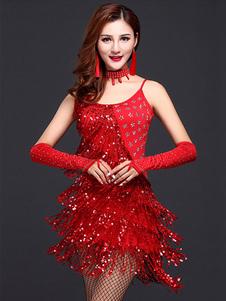 فستان أحمر لاتيني رقصة فستان حريمي