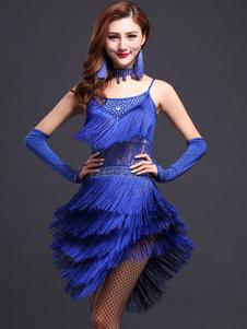 Vestido de dança latina azul tiras franja leite vestido de seda
