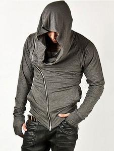 Felpa grigia con cappuccio chiusura lampo in cotone per gli uomini