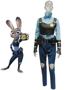 Disfraz Carnaval Zootopia Judy Hopps Conejo Halloween Cosplay Disfraz Azul Algodón Sash Halloween Carnaval