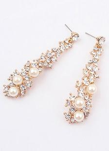 ファッション耳飾り ドロップ耳飾り ゴールド 模造真珠 合金 エレガント ラウンドブリリアントカット パーティー ドロップス(Drops)