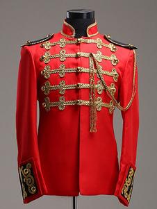 ازياء الباروك الأحمر العام الملكي المحكمة الاصطناعية للرجال هالوين