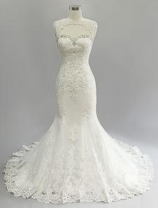 Vestido de noiva marfim casamento vestido sereia Backless corta-circuito de laço