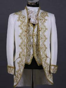Рококо белый печати Королевского суда синтетические костюмы для мужчин Хэллоуин