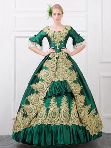 Costume Carnevale Costume retrò verde barocco volant palloncino stampato abito Slim Fit