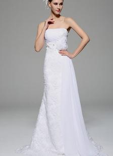 White Strapless vestido de casamento frisado flor cetim vestido de noiva