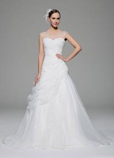 Apliques de ilusão de vestido de casamento marfim hierárquico frisada Organza vestido de casamento