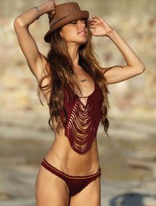 Crochet Bikini traje de baño de dos piezas trajes de baño Halter Borgoña traje de baño atractivo para las mujeres