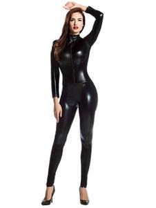 Хэллоуин черный костюм костюм блестящий металлический костюм для женщин