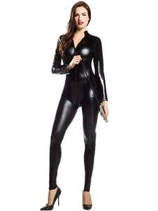 Disfraz Carnaval Sexy traje metálico brillante Zentai negro para las mujeres Halloween Carnaval