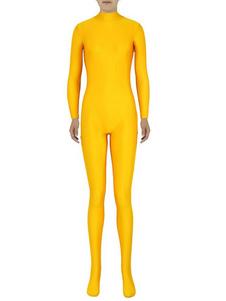 Zentai amarelo Sexy macacão Spandex para mulheres Halloween