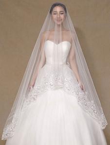 العاج الحجاب الزفاف من الطبقة واحدة زين تول الرباط أنيقة الحجاب الزفاف (طول 300CM)