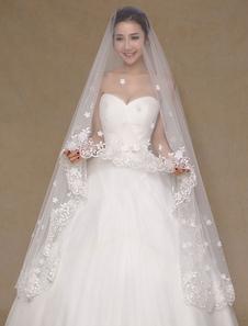 Véu de noiva (300cm de comprimento) laço monista Applique véu de casamento marfim