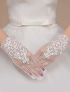Слоновой кости свадебное полу чистой кружевные перчатки