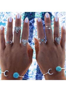 Серебряные кольца слон печати рельефные шик металлические кольца для женщин