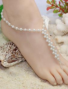 Tornozeleira branca praia pérolas Toe Loop tornozeleira na moda para as mulheres