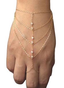 Anillo de oro pulsera de diamantes de imitación Metal en capas de pulsera para mujeres